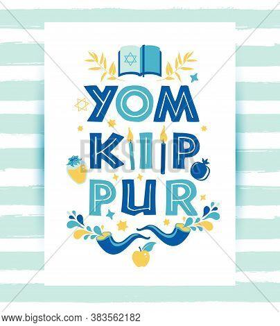 Yom Kippur Greeting Card With Candles, Apples And Shofar And Sybols. Jewish Holiday Background. Vect
