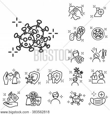 Outline Icons About Coronavirus Prevention And Symptoms. Virology Outline. Coronavirus Safety Relate