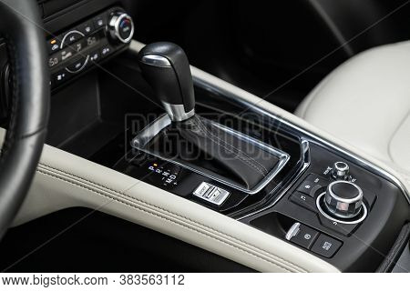 Novosibirsk, Russia - August  07, 2020 : Mazda Cx-5, Close Up Of The Manual Gearbox Transmission Han
