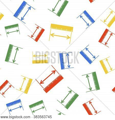 Color The Measuring Height And Length Icon Isolated Seamless Pattern On White Background. Ruler, Str