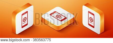 Isometric Smartphone Update Process With Gearbox Progress And Loading Bar Icon Isolated On Orange Ba