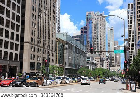 Chicago, Usa - June 28, 2013: People Drive Along Michigan Avenue In Chicago. Chicago Is The 3rd Most