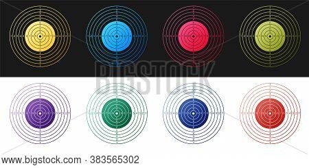 Set Target Sport For Shooting Competition Icon Isolated On Black And White Background. Clean Target