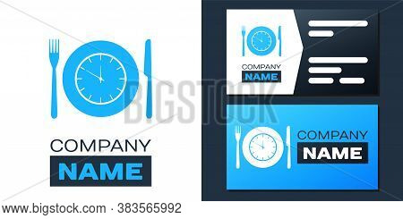Logotype Plate With Clock, Fork And Knife Icon Isolated On White Background. Lunch Time. Eating, Nut