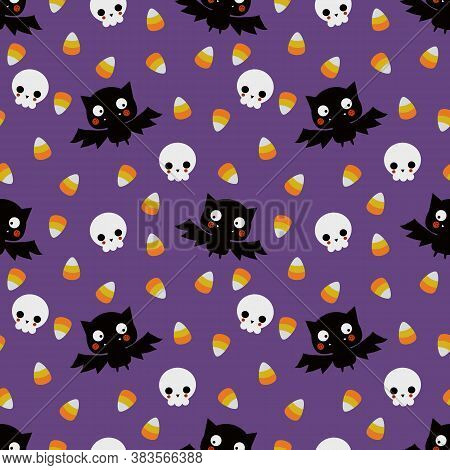 Cute Vampire And Skull  Seamless Pattern. Cute Halloween Concept.