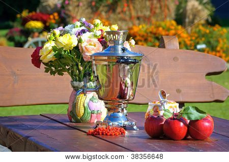 Outdoor dining table in autumn