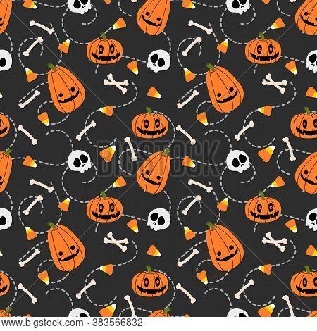 Cute Halloween Pumpkin And Skull Seamless Pattern