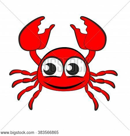 Cartoon Red Crab With Large Claws Isolated On White Background.