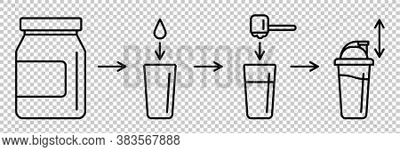 Sport Nutrition Supplement Concept. Instructions How To Make Whey Protein Isolate Shake. Linear Icon