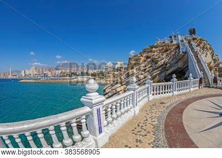 Benidorm, Spain - August 15, 2020: View From The Balcony Of The Mediterranean-balco Del Mediterrani,