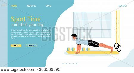 Morning Fitness Sport Time Workout Activity. Young Man Pushing Up From Floor Exercising At Gym Prese
