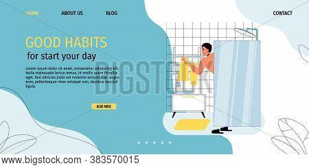 Young Man Taking Morning Shower. Guy Enjoying Water Bath Procedure. Good Bathroom Habit. Personal Hy