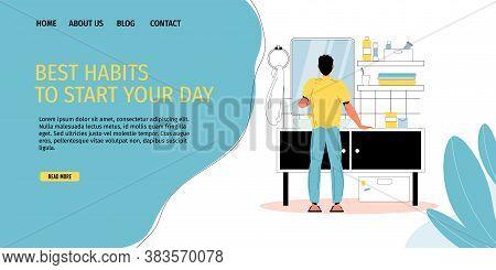 Best Morning Habits Routine. Happy Man Brushing Teeth, Shaving At Home Bathroom. Good Day Beginning.