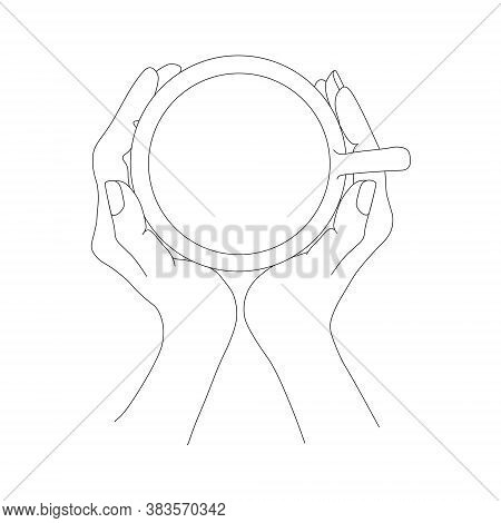 Cup Of Tea In Two Hands Top View Hand Drawn Sketch Monochrome Art Design Elements Stock Vector Illus