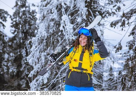 Young Gorgeous Smiling Woman With Ski Portrait
