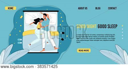 Sleeping Couple. Man Woman Wearing Pajamas Lying Together Sleep In Comfortable Bed. Young Family In