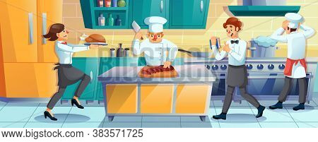 Working Restaurant Staff. Man Cooking Using Professional Equipment. Cook, Chef, Cookery Assist, Wait