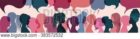 Silhouette Group Multiethnic Women Who Talk And Share Ideas And Information. Social Network Communit