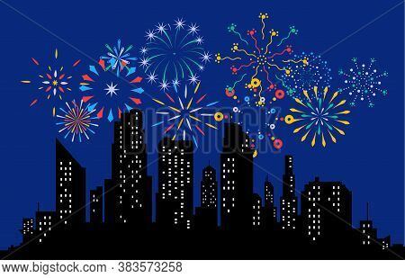 Fireworks Displaying In Dark Evening Sky And Celebrating Holiday Against City Buildings. Festival Ce