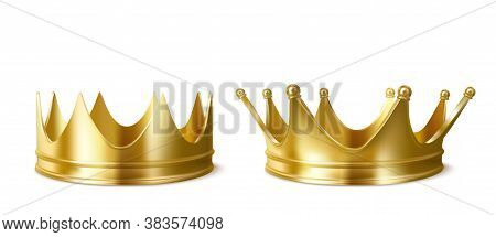 Golden Crowns For King Or Queen, Crowning Headdress For Monarch. Royal Gold Monarchy Medieval Empero