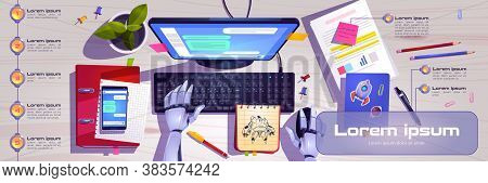 Workspace With Robot Hands Working On Computer Keyboard Top View. Infographics Banner With Ai Chat B