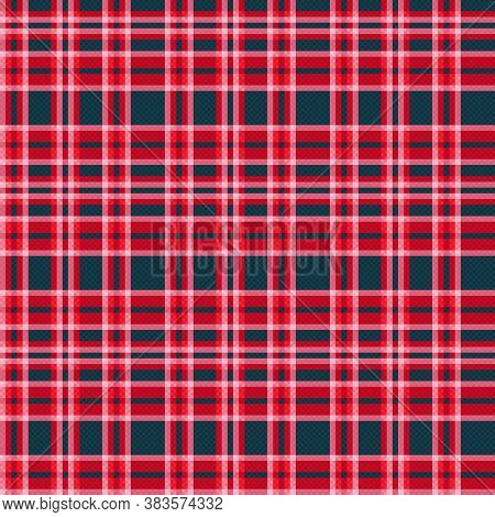 Contrast Tartan Scottish Seamless Pattern In Red, Pink And Muted Blue, Texture For Tartan, Plaid, Ta