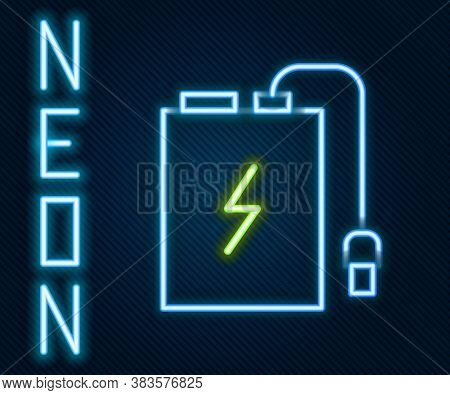 Glowing Neon Line Power Bank With Different Charge Cable Icon Isolated On Black Background. Portable