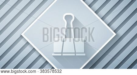 Paper Cut Binder Clip Icon Isolated On Grey Background. Paper Clip. Paper Art Style. Vector Illustra