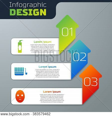 Set Spray Can For Hairspray, Sauna Bucket And Ladle And Facial Cosmetic Mask. Business Infographic T
