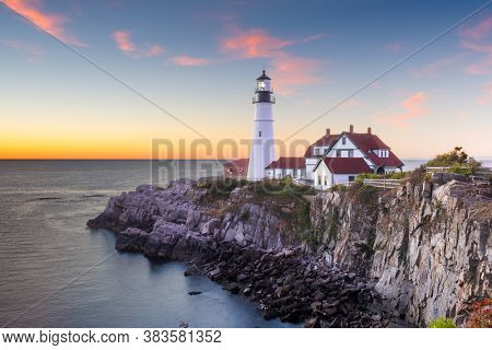 Portland, Maine, USA at Portland Head Light in the morning.