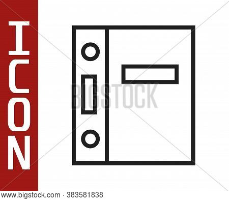 Black Line Office Folders With Papers And Documents Icon Isolated On White Background. Office Binder