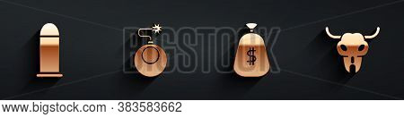Set Bullet, Bomb Ready To Explode, Money Bag And Buffalo Skull Icon With Long Shadow. Vector