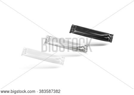 Blank Black, White And Silver Chocolate Bar Foil Wrap Mockup, 3d Rendering. Empty Protein Chocolat W