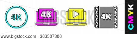 Set 4k Ultra Hd, Laptop With 4k Video, Online Play Video And 4k Movie, Tape, Frame Icon. Vector