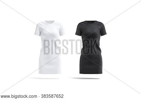 Blank Black And White Cloth Dress Mock Up Set, Front View, 3d Rendering. Empty Female Evening Wear O
