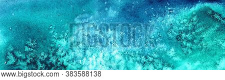 Turquoise And Blue Watercolor Background With Spots, Stains From The Salt Similar To Snowflakes. Pap