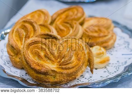 Freshly Baked Heart Shaped Buns On Plate At Cuisine Of Restaurant, Bakery. Professional Cooking, Cat