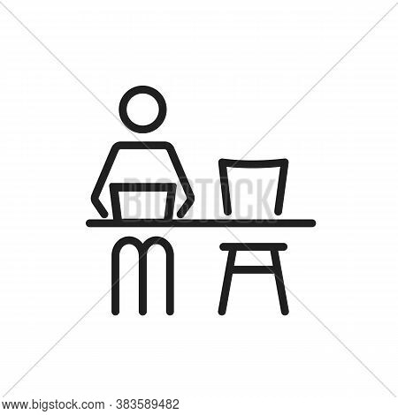 Remote Work From Home Or Office Line Vector Icon. Editable Stroke Symbol Of A Man Pictogram Sitting