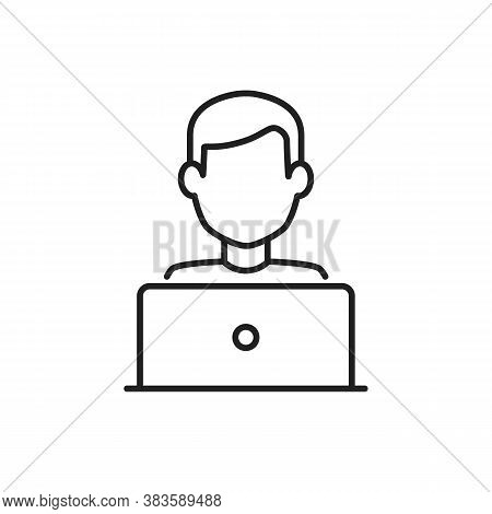 User With Laptop Computer. Home Office Line Vector Icon. Editable Stroke Symbol Of A Person At The D