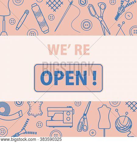 Vector Illustration Reopening Of Tailor's, Fashion Designer's, Sewing Workshop After Covid-19 Quaran