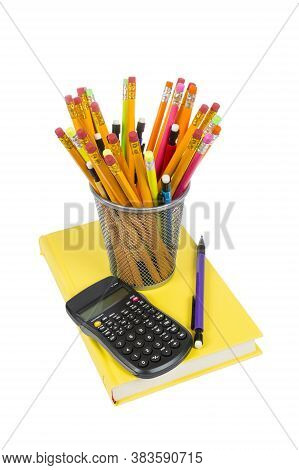 Vertical Shot Of Colorful Pencils Of Different Kinds Inside A Pencil Holder And Resting On A Brightl