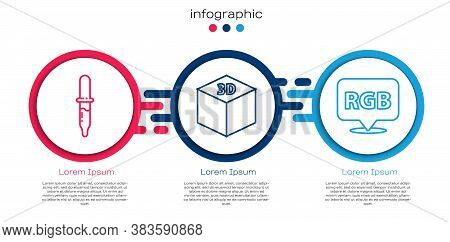 Set Line Pipette, Isometric Cube And Speech Bubble With Rgb And Cmyk. Business Infographic Template.
