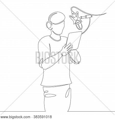 One Continuous Drawing Line Logo Portrait Young Announcer Actor Singer Record Sound On Microphone In