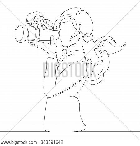One Continuous Drawing Line Logo Portrait The Girl Is Shooting On A Photo Camera .single Hand Drawn