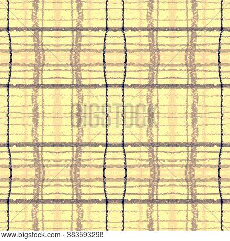 Indigo Square Plaid. Seamless Checkered Cloth. Irish Picnic Pattern. Classic Retro Material. Square