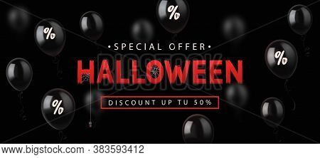 Sale Banner For Halloween Holiday With Lettering On Black Background With Balloons. Vector Illustrat