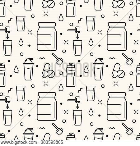 Seamless Vector Pattern With Sport Supplements, Whey Protein, Scoop, Shaker, Multivitamin. Sport Nut