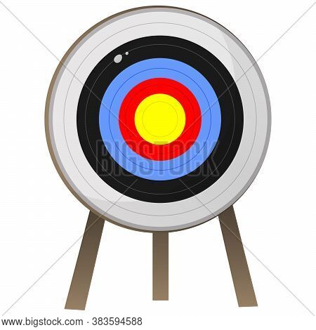 Color Image Of Cartoon Target For Archery On White Background. Sports Equipment. Bow Shooting. Vecto