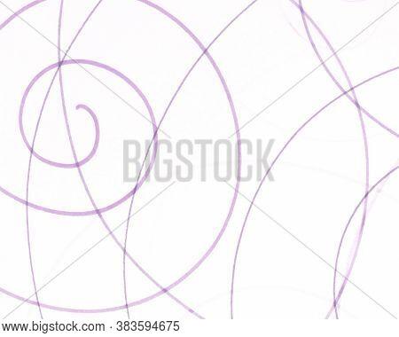 Pink Artistic Pencil Painting. White Random Circle Illustration. Chaotic Kids Artwork. Pink Geometri