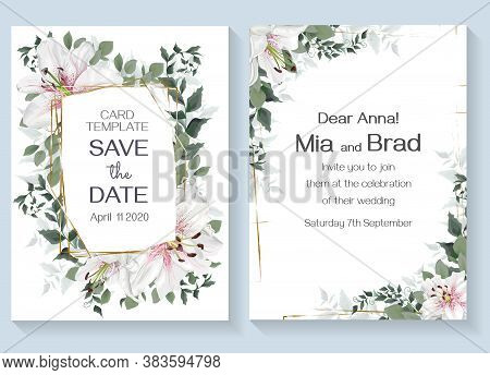 Floral Design For Wedding Invitation. Vector Template For Your Text. White King Lilies, Polygonal Go